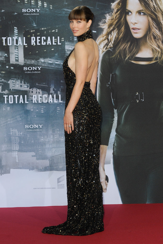 Jessica Biel stepped out at the Berlin premiere of Total Recall in a seriously sexy Elie Saab gown. The ultraembellished number hugged every curve and showed off her sculpted back to perfection.