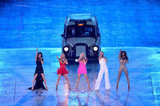 The Spice Girls reunite for the Closing Ceremony and look every part the dynamic fivesome that we remember from years past.