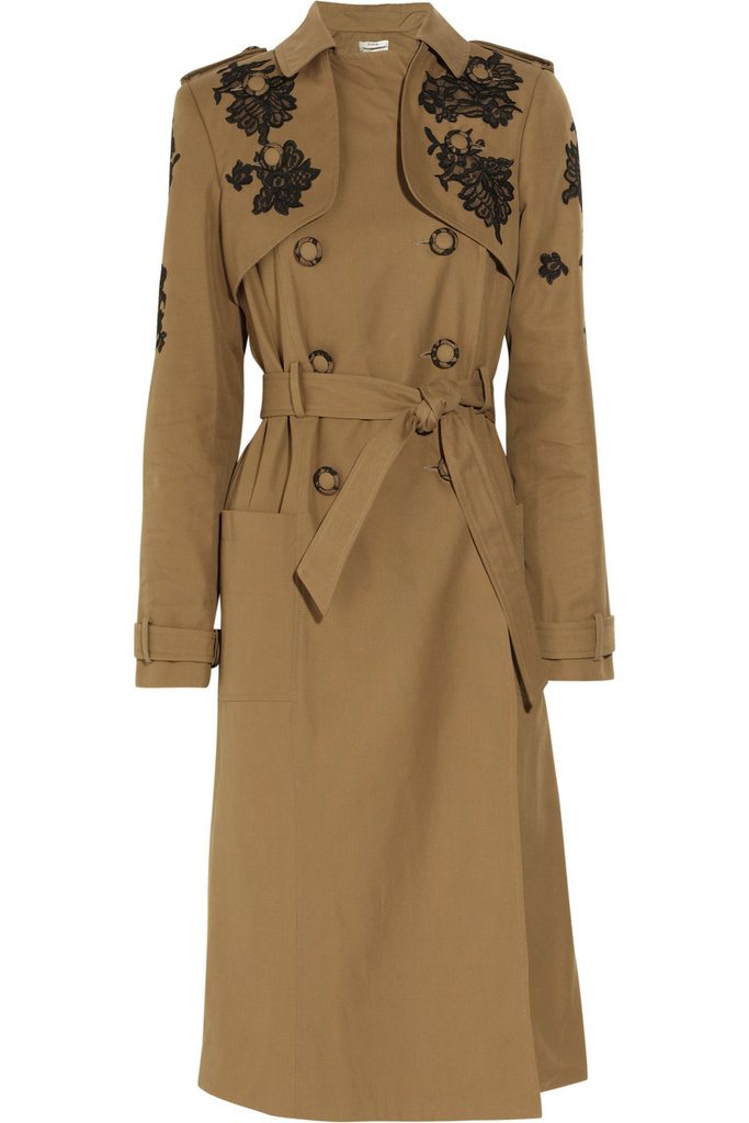 A classic trench with a sophisticated makeover — this Erdem jacket is right up our alley. Erdem Leta Lace-Appliqué Twill Trench Coat ($4,330)