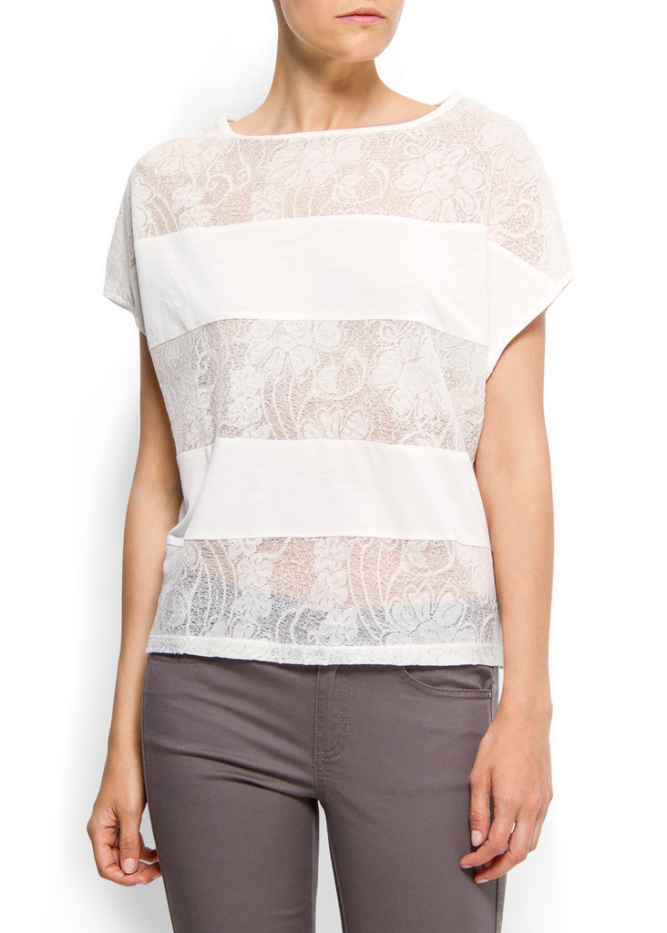The lace panels on this loose tee add texture. Mango Loose-Fit Lace T-Shirt ($30)
