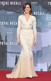 Kate Beckinsale played monochromatic opposites to Jessica Biel's darker evening ensemble at the Berlin premiere. The brunette beauty chose a cream-colored Naeem Khan gown that featured a chiffon train.