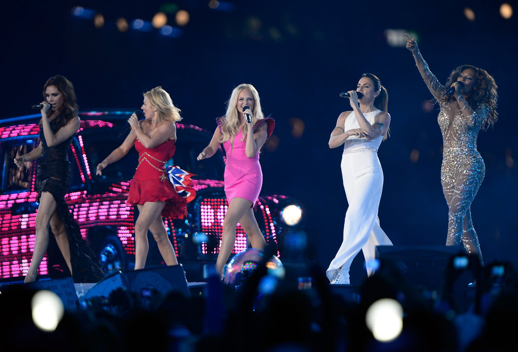 The ladies resumed their style personas on stage, with Victoria Beckam as Posh, Geri Halliwell as Ginger, Emma Bunton as Baby, Melanie Chisholm as Sporty, and Melanie Brown as Scary.