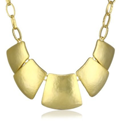 Kenneth Jay Lane Satin Gold Link 5-Part Bib Necklace - designer shoes, handbags, jewelry, watches, and fashion accessories | end