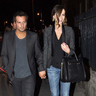 Kate Beckinsale Wearing Tweed Blazer