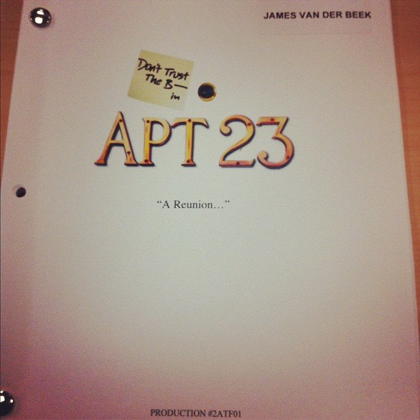 James Van Der Beek snapped a pic of his Don't Trust the B---- script.  Source: Instagram user vanderjames