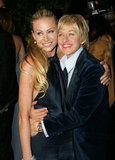 Portia de Rossi and Ellen DeGeneres stuck together at a February 2007 Oscar party in LA.