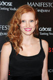 Jessica Chastain had a smile on her face at the screening of Lawless in NYC.