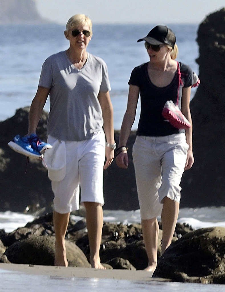 Portia de Rossi and Ellen DeGeneres strolled on the beach in Malibu in January 2012.