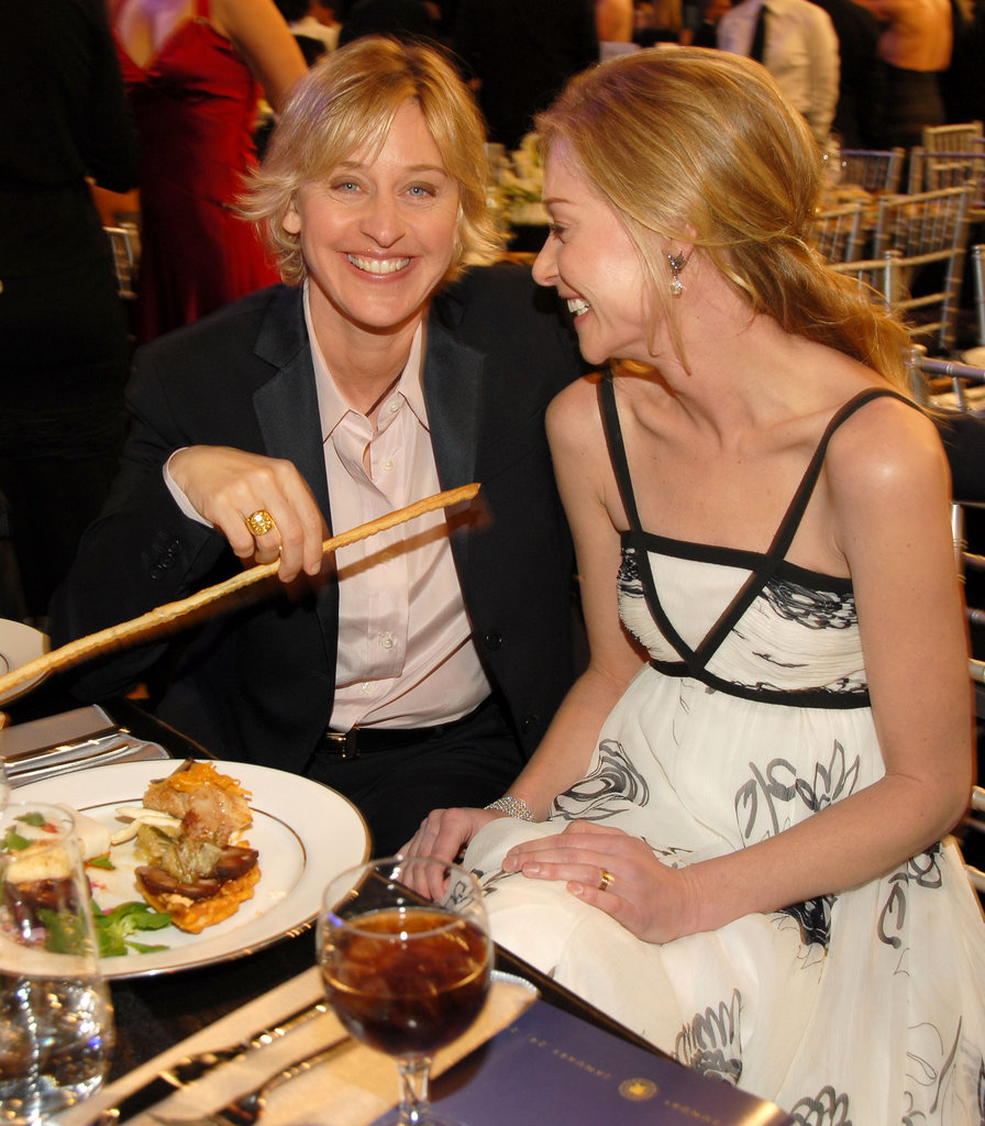Portia de Rossi and Ellen DeGeneres had a laugh during dinner at the January 2006 SAG Awards.