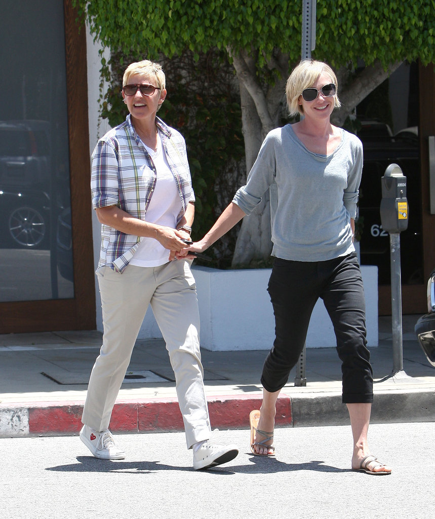 In June 2012, Portia de Rossi led the way for a smiley Ellen DeGeneres in LA.
