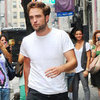 Robert Pattinson Wearing White Tee in NYC