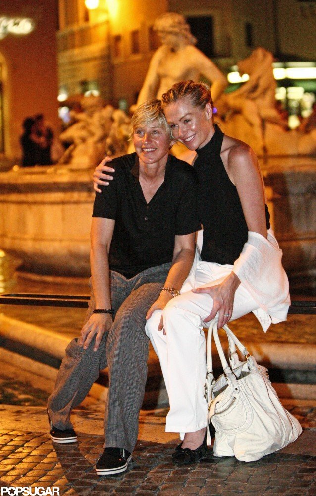 Ellen DeGeneres and Portia de Rossi went sightseeing in Rome in June 2008.