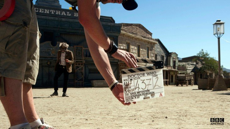 Behind-the-scenes action on the Western episode, which was actually filmed in Spain.
