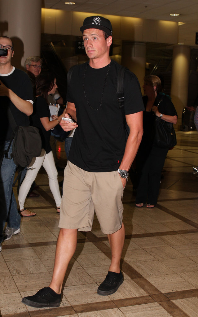 Ryan Lochte made his way through LAX.