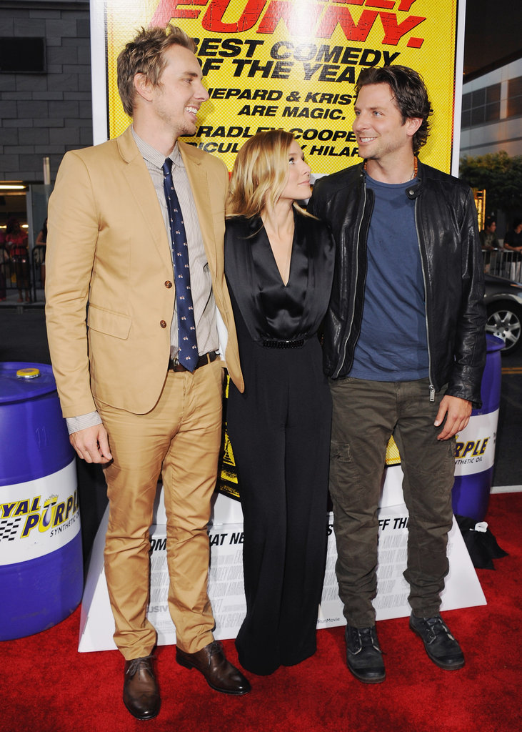 Dax Shepard, Kristen Bell, and Bradley Cooper arrived at the premiere of Hit and Run.