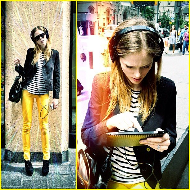 Coco Rocha showed off a sweet pair of headphones and an even sweeter pair of yellow pants. Source: Instagram user cocorocha