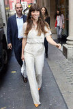 Jessica Biel smiled on her way into Kiss FM radio in London.