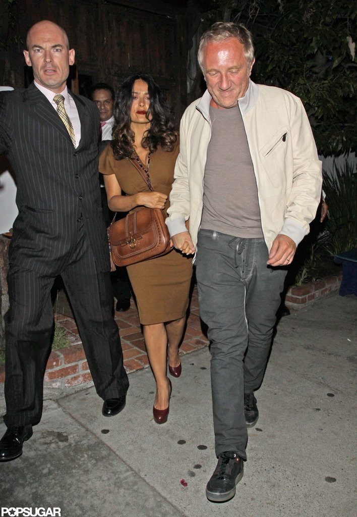 Salma Hayek and husband Francois-Henri Pinault left a club after celebrating Halle Berry's birthday.