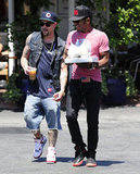 Joel Madden left Fred Segal with a friend.