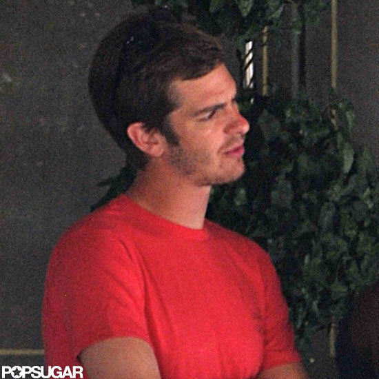 Andrew Garfield looked cute in a red tee and jeans.