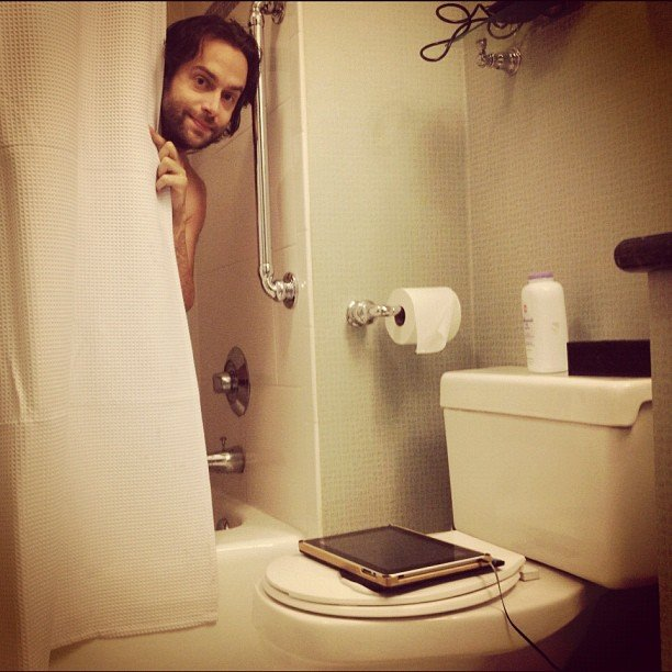 Chris D'Elia showed this picture of him showering while on the road for his comedy tour.  Source: Instagram user chrisdelia