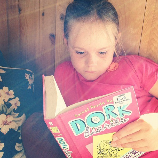 My cousin was getting her reading on early with Dork Diaries.