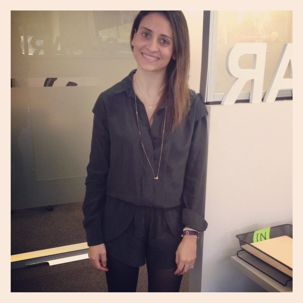 Publisher Marisa went dark and moody with her charcoal grey Maurie & Eve playsuit and long necklace by Orelia.