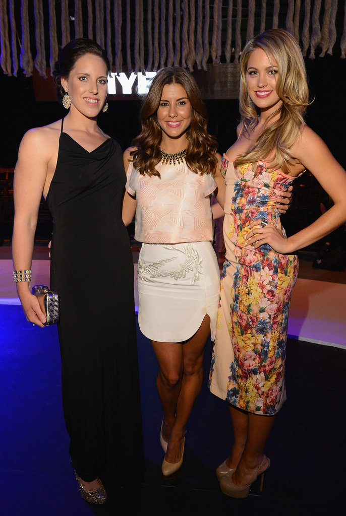 Aussie swimmer (and London Olympics gold medallist!) Alicia Coutts, Myer Ambassador Lauren Phillips and model/presenter Jesinta Campbell caught up at the Myer SS 2013 Collection on August 16.  Photo credit: Lucas Dawson