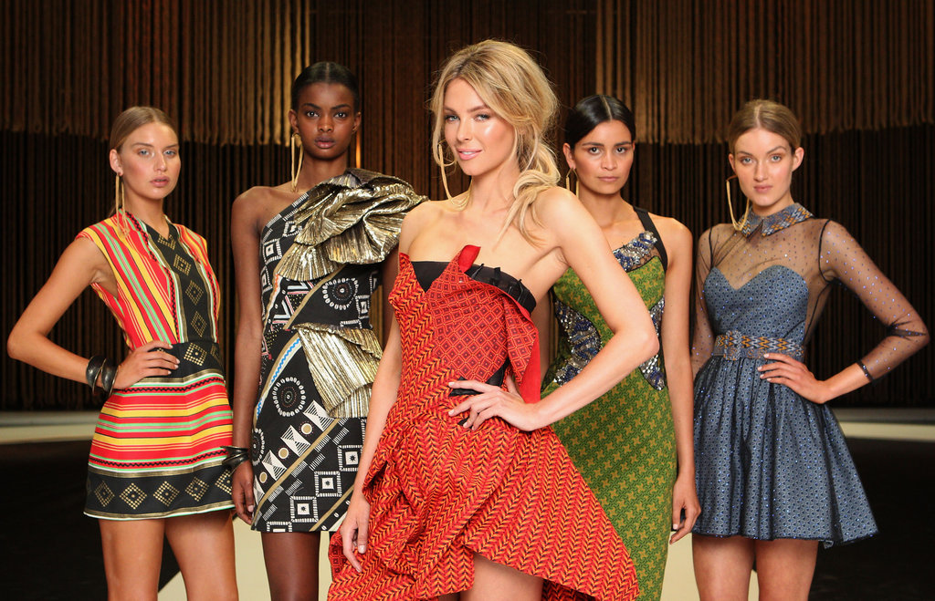 The custom-made designs using fabrics imported from South Africa. From left: Manning Cartell, sass & bide, Toni Maticevski, Fleur Wood and Jayson Brunsdon.