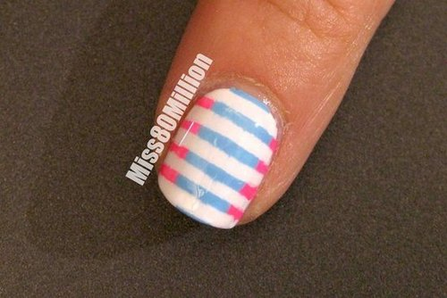 Pink and Blue Stripes - Back to School Nail Art Tutorial