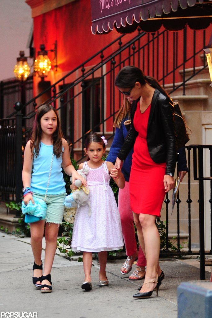 Katie Holmes and Suri Cruise held hands on the way to Alice's Tea Cup in NYC.