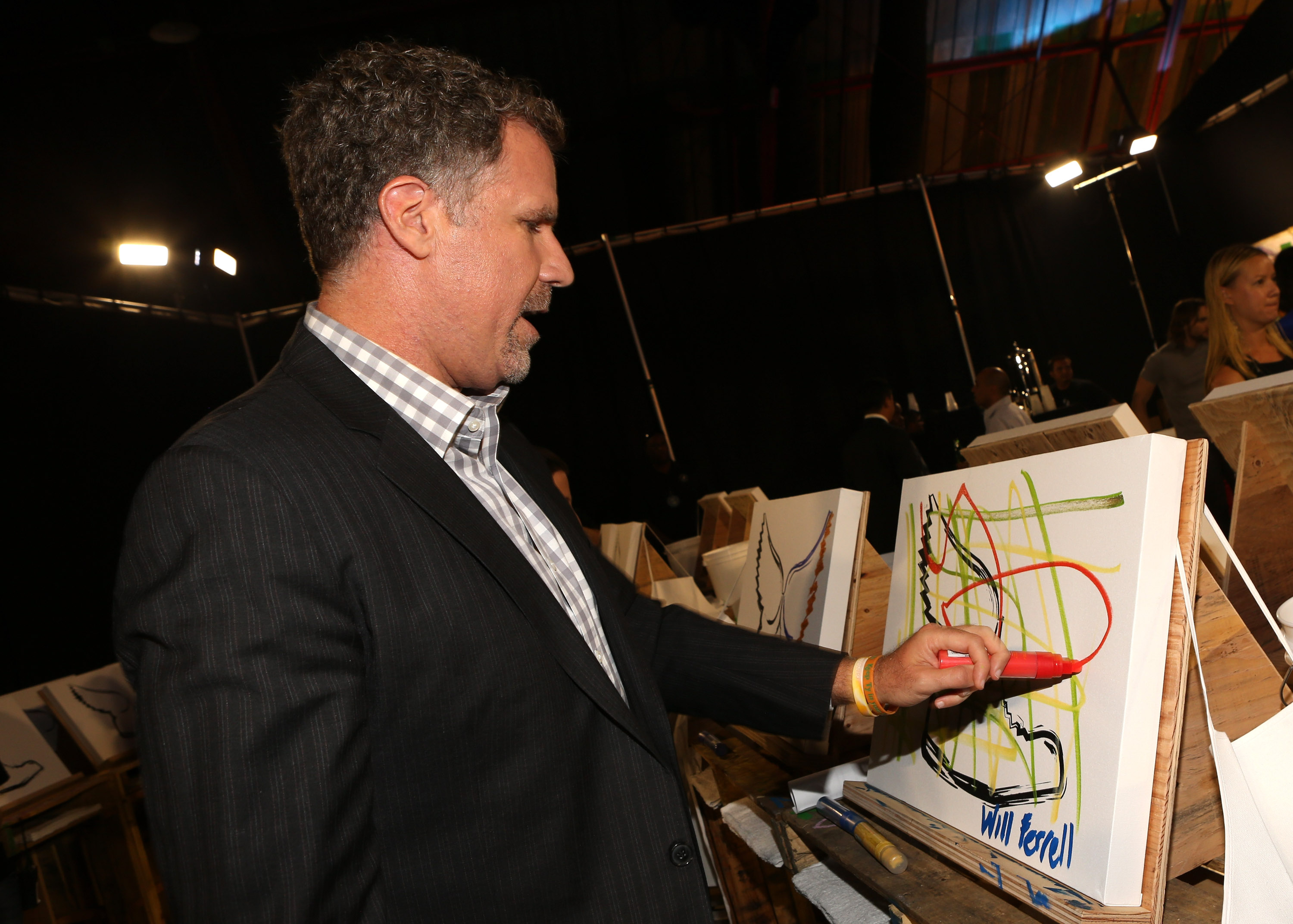 Will Ferrell created a piece of art backstage at the Do Something Awards.