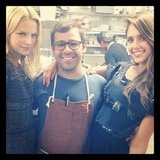 Jessica Alba and Kelly Sawyer posed with the chef at LA's Animal restaurant.  Source: Instagram user jessicaalba