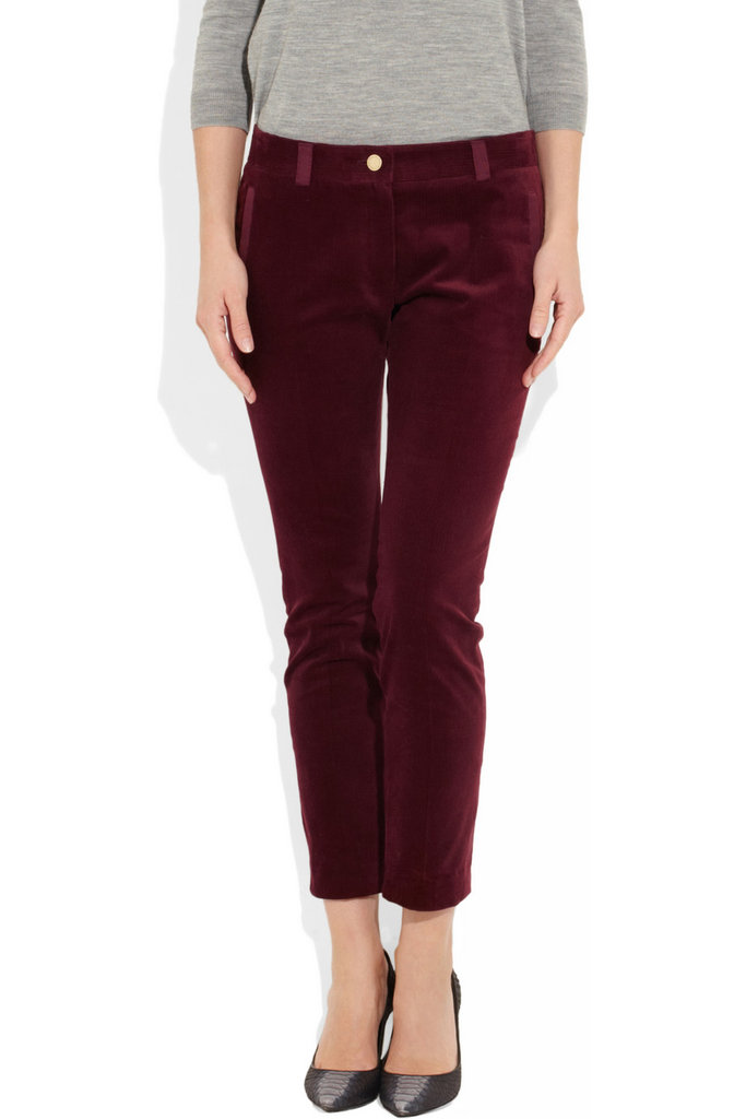 This rich cranberry-hued pair will feel sophisticated for an evening out, paired with your tuxedo blazer and classic pumps.  Mulberry Mid-Rise Corduroy Tapered Pants ($380)