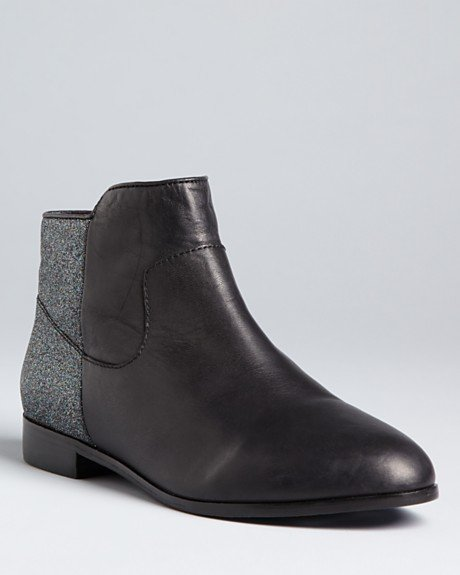 That borrowed-from-the-boys essence all wrapped into one awesome pair of boots to juxtapose our shifts and minis.  Rebecca Minkoff Chelsea Booties Refine Sparkle ($325)