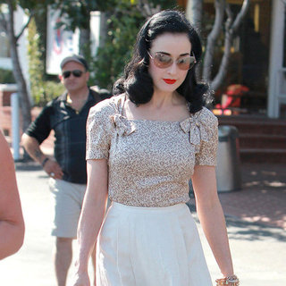 Dita Von Teese Wearing White Skirt