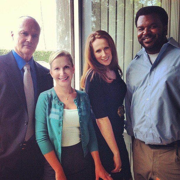 Angela Kinsey posed with her castmates on the set of The Office. Source: Instagram user angekinz