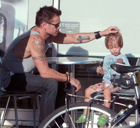Colin Farrell ruffled his son Henry Farrell's hair.