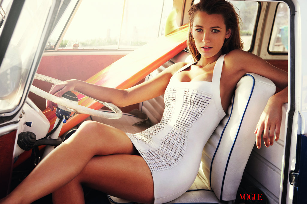 Blake Lively lounged in a tight white dress for US Vogue in June 2010.