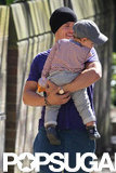 Orlando Bloom held onto his son.