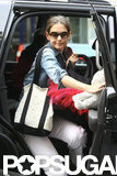 Katie Holmes got out of the car in NYC.