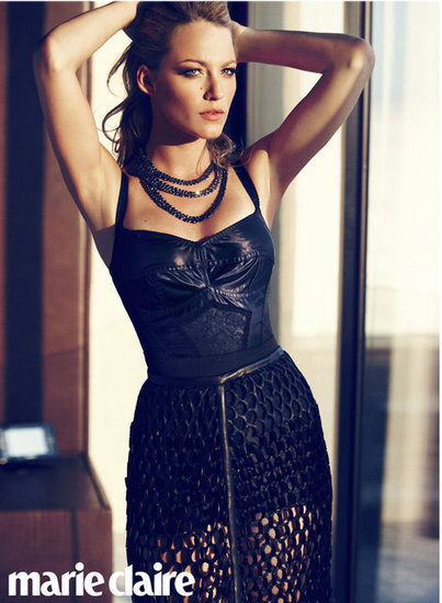 Blake Lively wore leather and lace in the July 2012 issue of US Marie Claire.