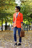 Orange you glad we spotted this polished guy? Garner the color inspiration to dress up your denim with a preppy-cool blazer washed in one of the season's most eye-popping hues — extra points for geeky-chic specs. 8391576 Source: Lookbook.nu