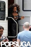 Jennifer Hudson checked her phone as she stepped out of her trailer.
