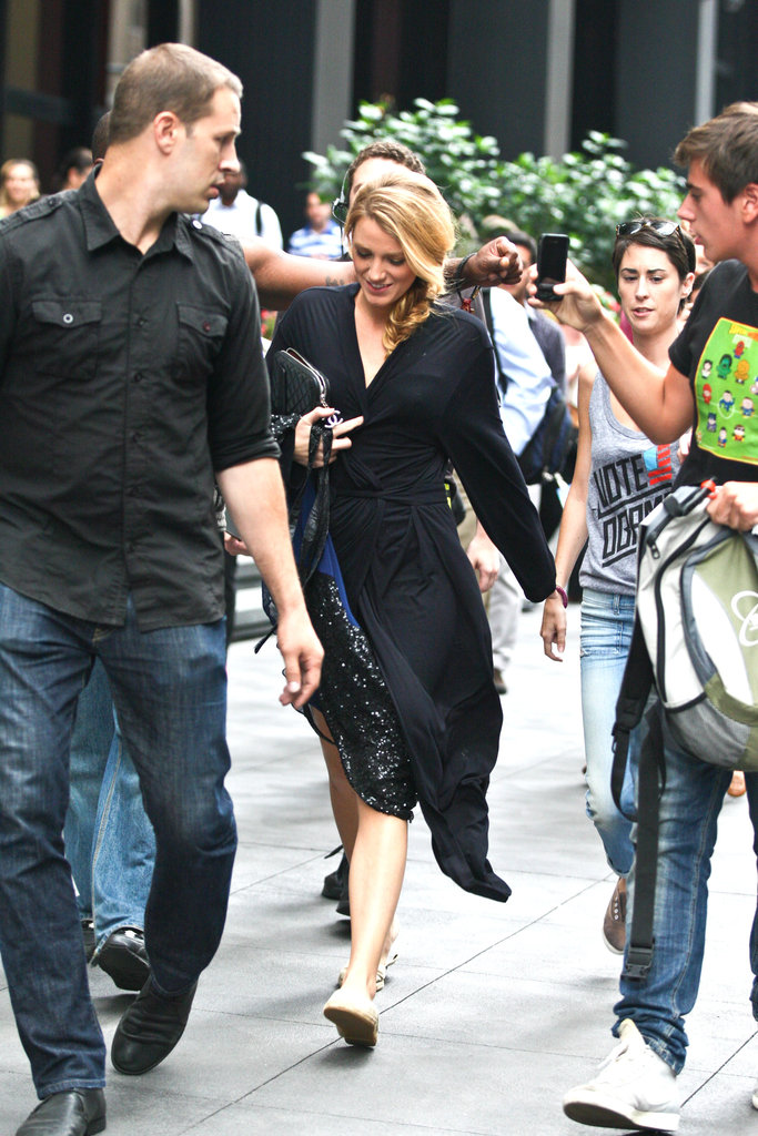 Blake Lively smiled as she arrived on set.