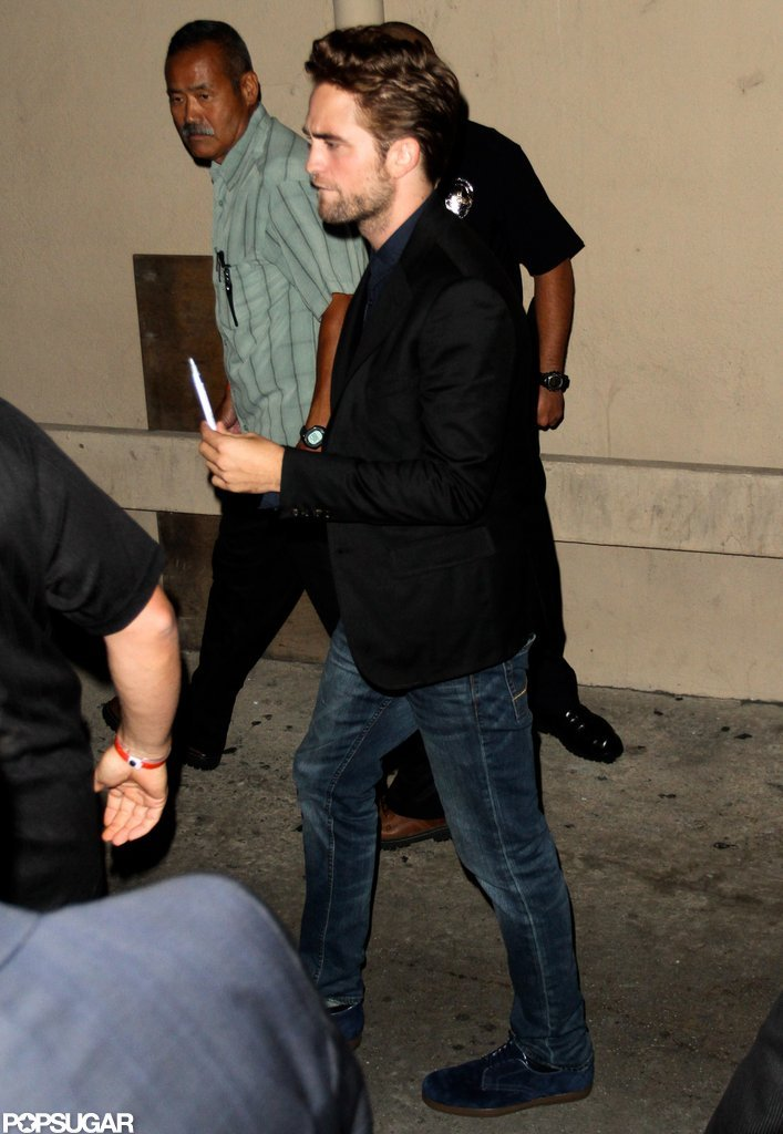 Robert Pattinson headed into the studio of the Jimmy Kimmel Show in LA.