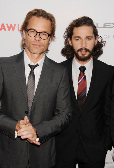 Guy Pearce and Shia LaBeouf looked dapper in gray and black suits.