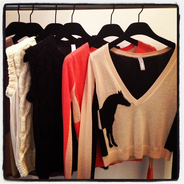 We' d love to get cuddly with these horse-print sweaters from Shae.