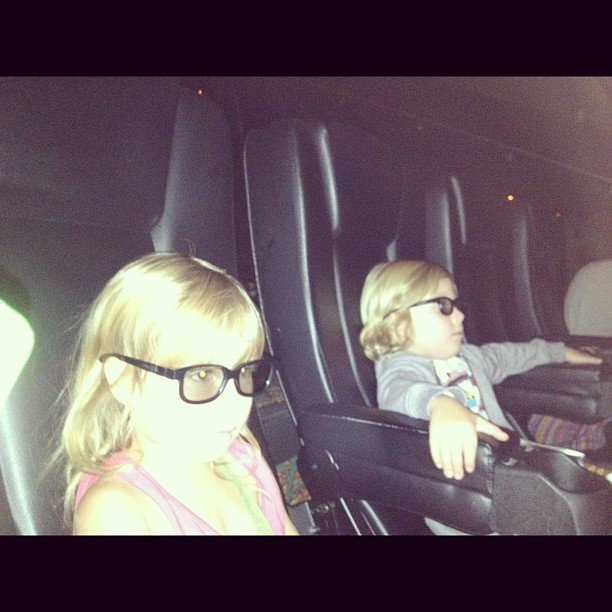 Tori Spelling took Liam and Stella to a cool movie theater to catch a 3D show of ParaNorman. Source: Instagram user torianddean