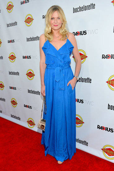 Kirsten Dunst wore a bright blue gown for the Bachelorette premiere in LA.
